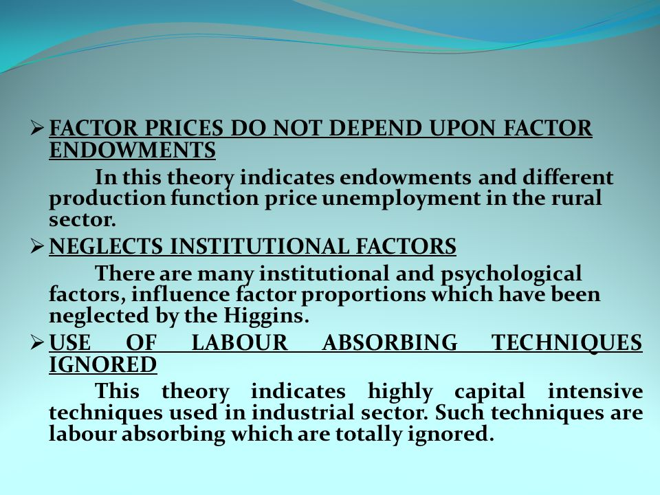 FACTOR PRICES DO NOT DEPEND UPON FACTOR ENDOWMENTS