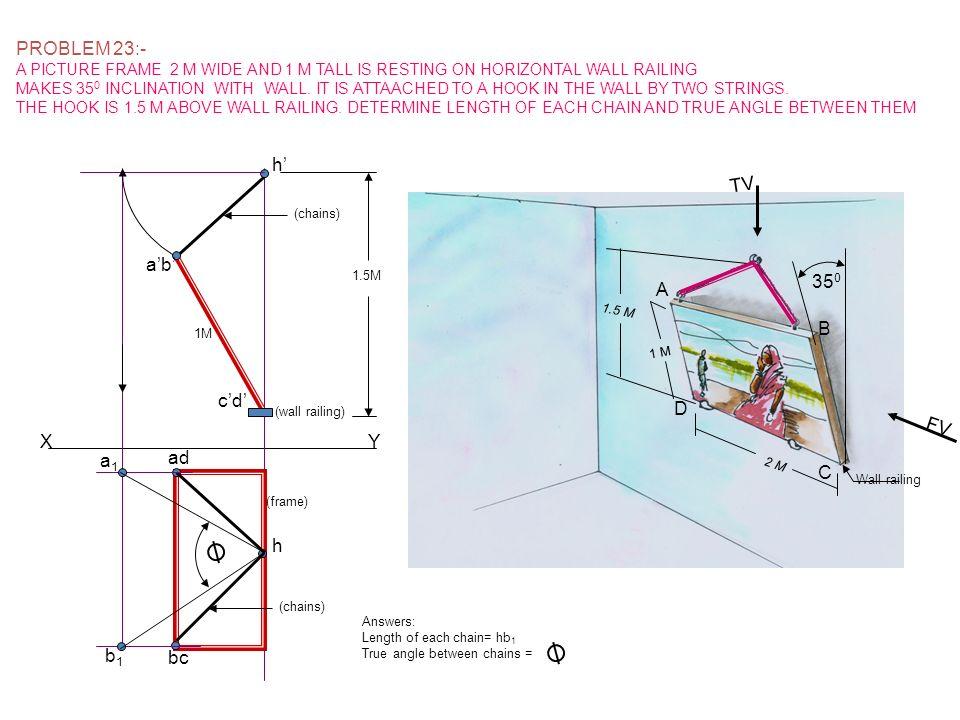 PROBLEM 23:- h' TV a'b' 350 A B c'd' D FV X Y a1 ad C h b1 bc