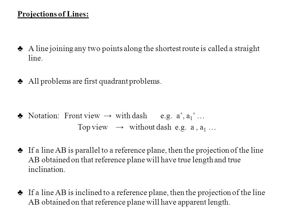 Projections of Lines: ♣ A line joining any two points along the shortest route is called a straight line.