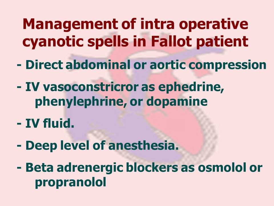 Management of intra operative cyanotic spells in Fallot patient