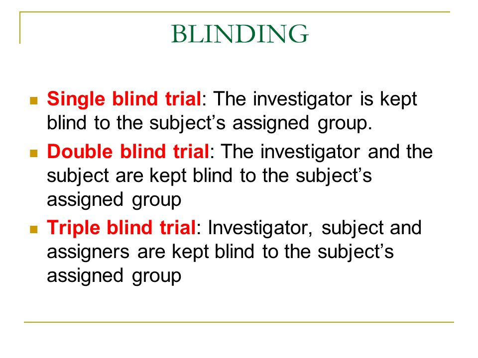 BLINDING Single blind trial: The investigator is kept blind to the subject's assigned group.