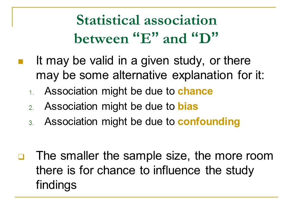 Statistical association between E and D