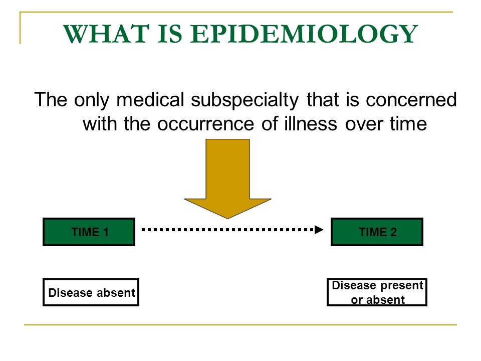 WHAT IS EPIDEMIOLOGY The only medical subspecialty that is concerned with the occurrence of illness over time.