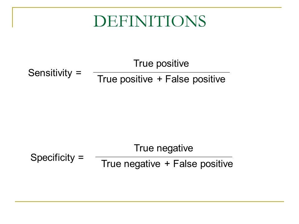 DEFINITIONS True positive Sensitivity = True positive + False positive