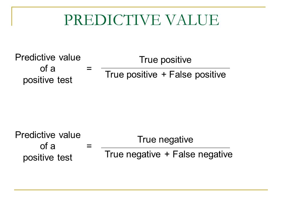 PREDICTIVE VALUE Predictive value of a True positive positive test =