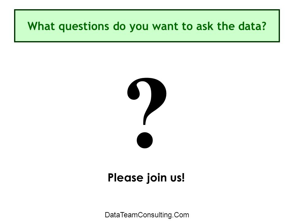 What questions do you want to ask the data