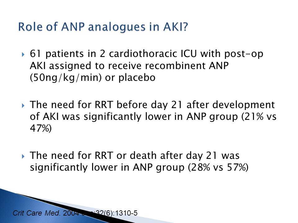 Role of ANP analogues in AKI