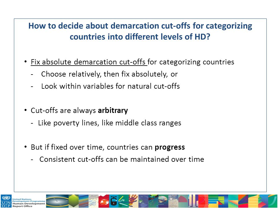 How to decide about demarcation cut-offs for categorizing countries into different levels of HD