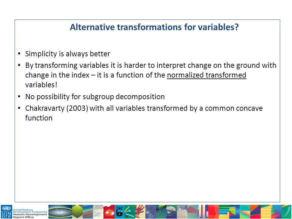 Alternative transformations for variables