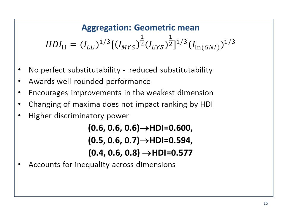 Aggregation: Geometric mean