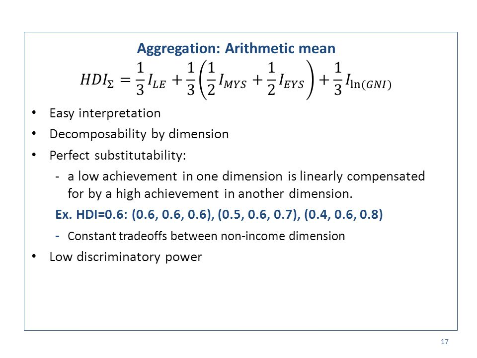 Aggregation: Arithmetic mean