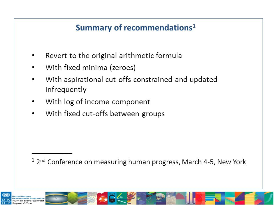 Summary of recommendations1