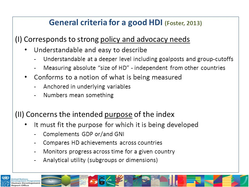 General criteria for a good HDI (Foster, 2013)