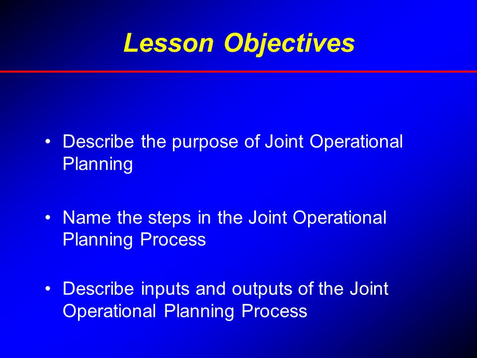 Lesson Objectives Describe the purpose of Joint Operational Planning