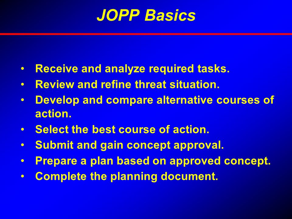 JOPP Basics Receive and analyze required tasks.