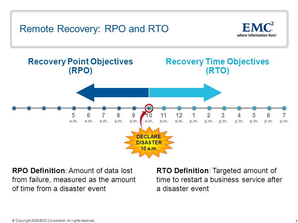 Remote Recovery: RPO and RTO