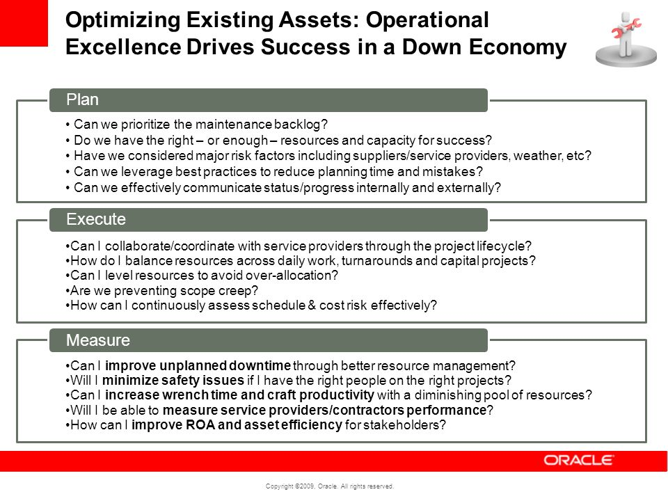 Optimizing Existing Assets: Operational Excellence Drives Success in a Down Economy