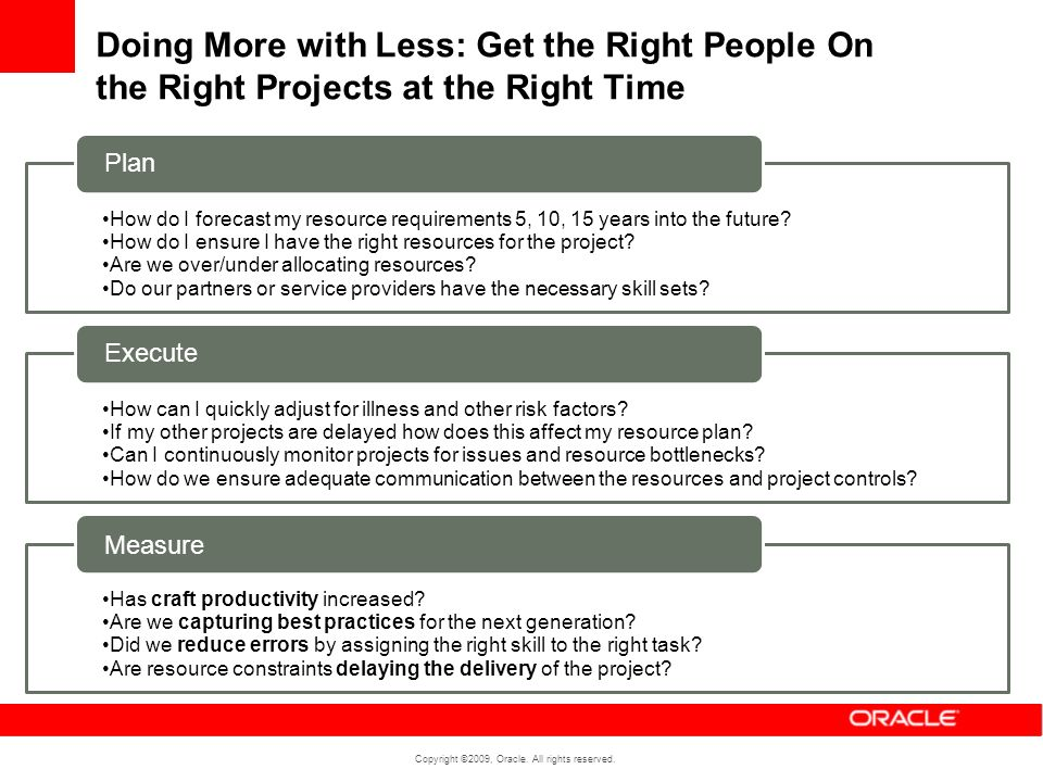 Doing More with Less: Get the Right People On the Right Projects at the Right Time