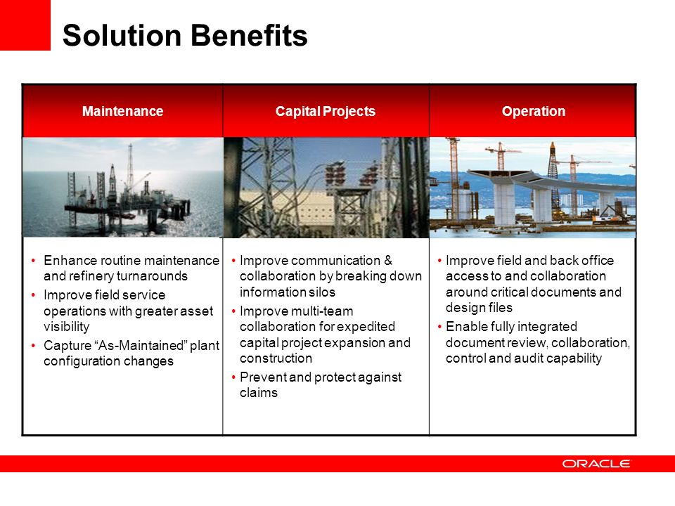 Solution Benefits Maintenance Capital Projects Operation
