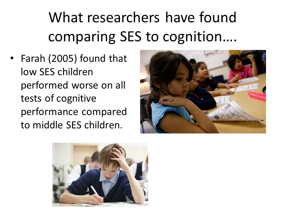 What researchers have found comparing SES to cognition….