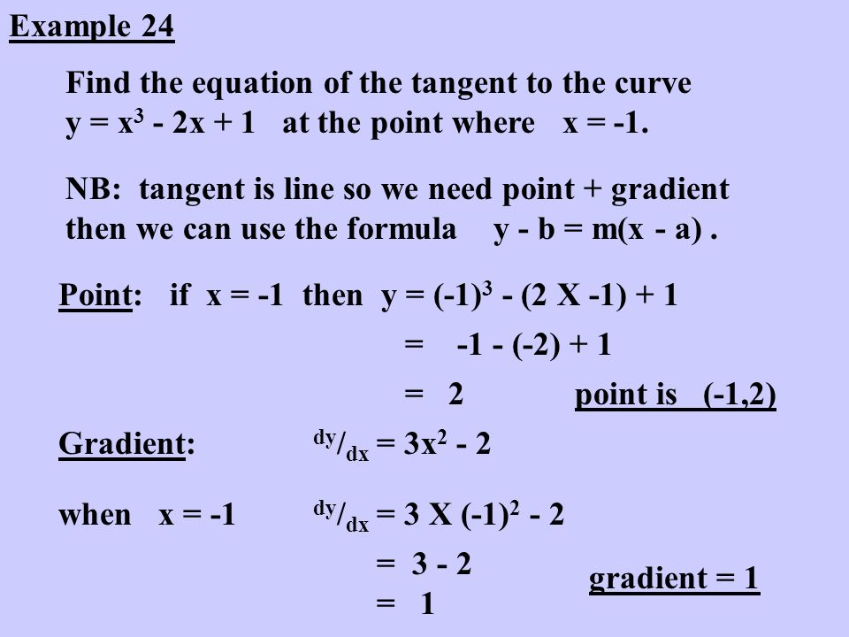 Example 24 Find the equation of the tangent to the curve y = x3 - 2x + 1 at the point where x = -1.
