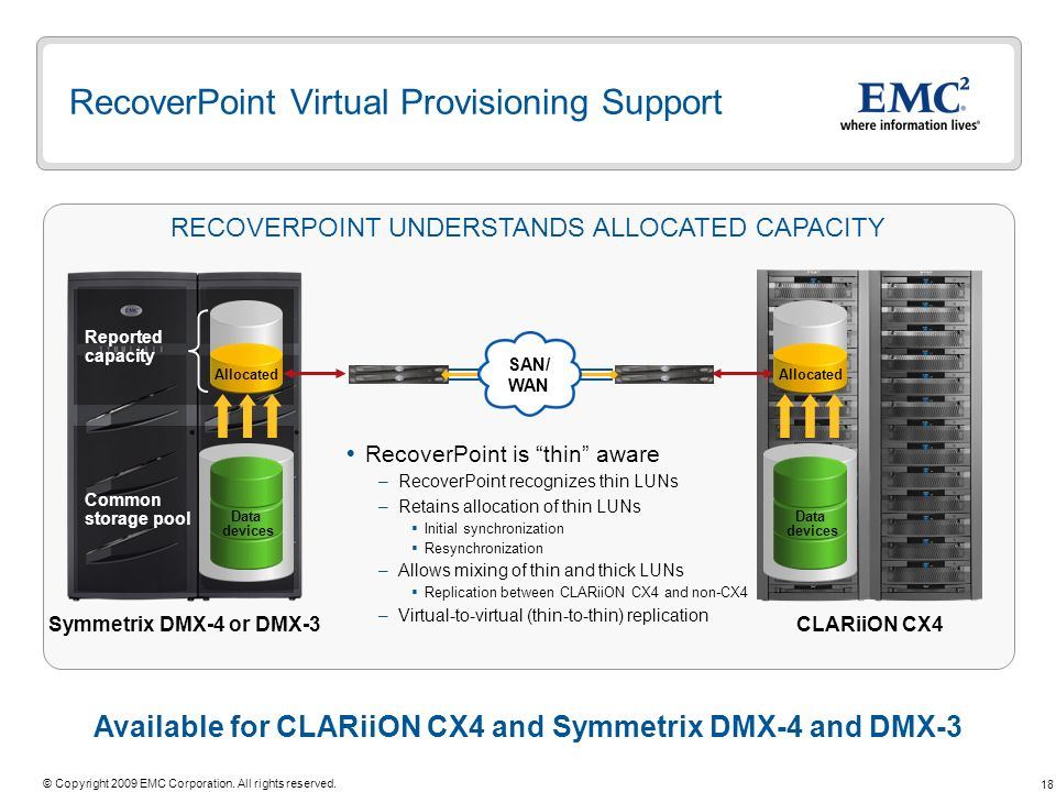 RecoverPoint Virtual Provisioning Support