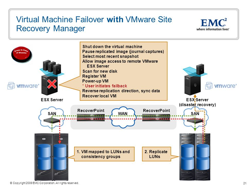 Virtual Machine Failover with VMware Site Recovery Manager