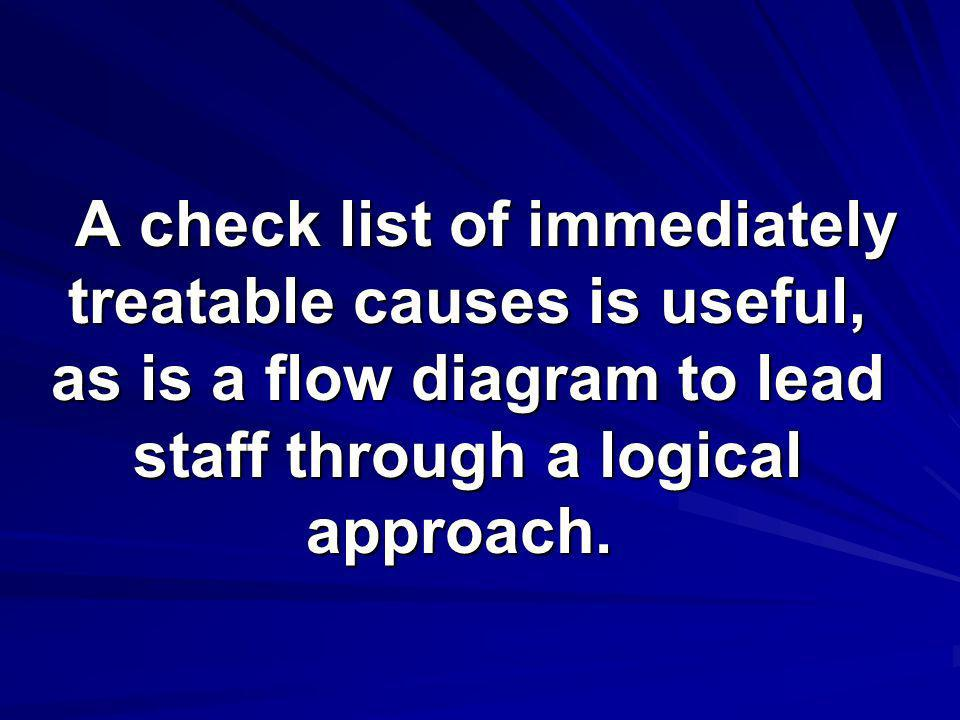 A check list of immediately treatable causes is useful, as is a flow diagram to lead staff through a logical approach.
