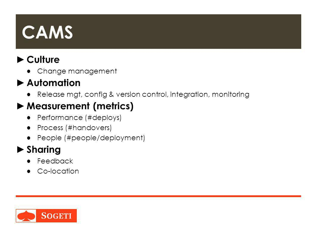 CAMS Culture Automation Measurement (metrics) Sharing