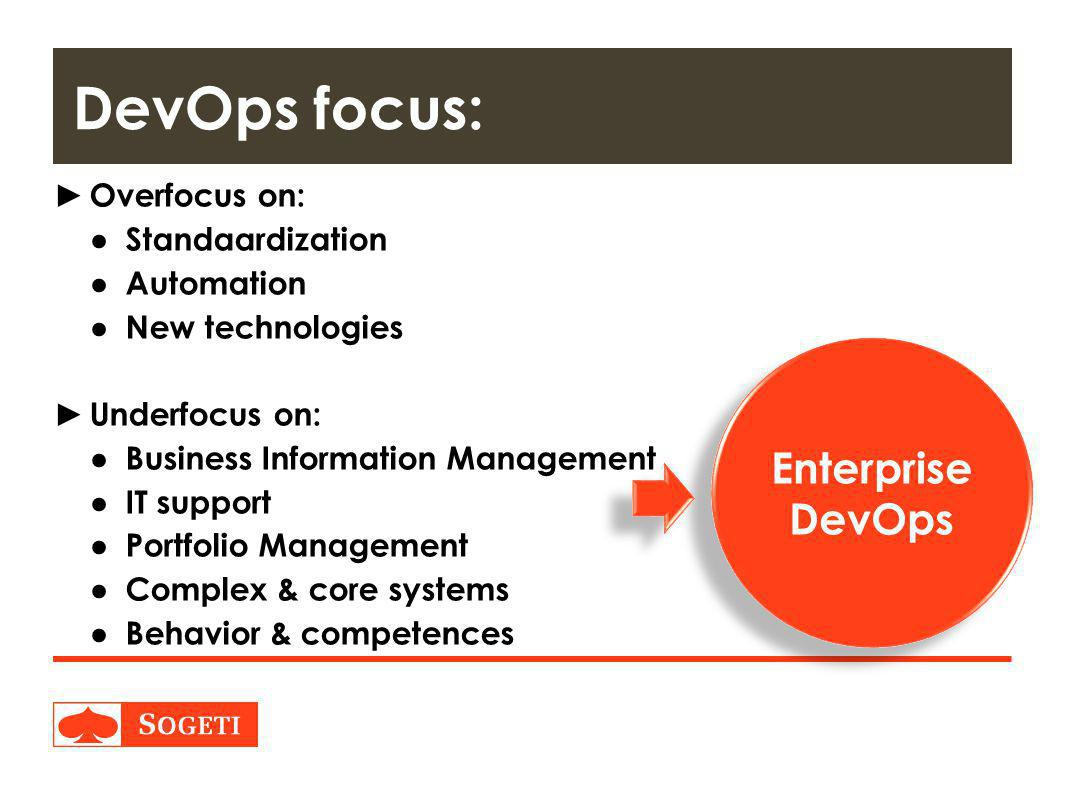 DevOps focus: Enterprise DevOps Overfocus on: Standaardization