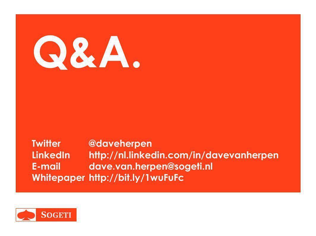 Q&A. Twitter. @daveherpen LinkedIn. http://nl. linkedin