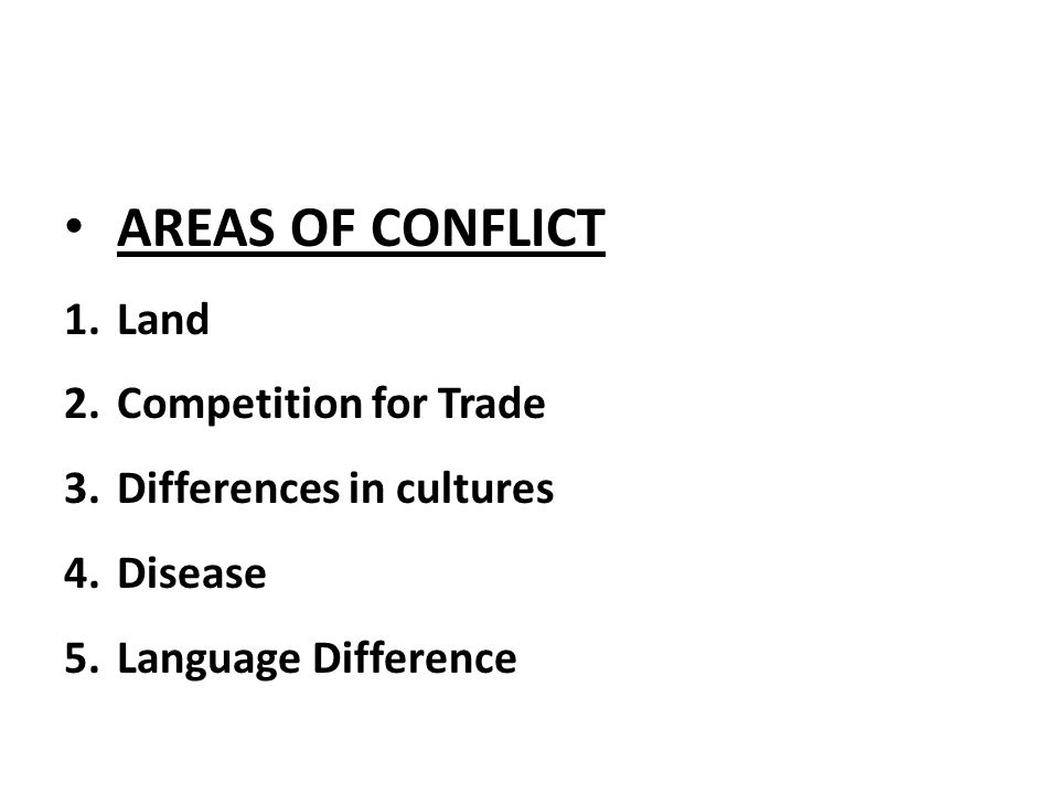 AREAS OF CONFLICT Land Competition for Trade Differences in cultures