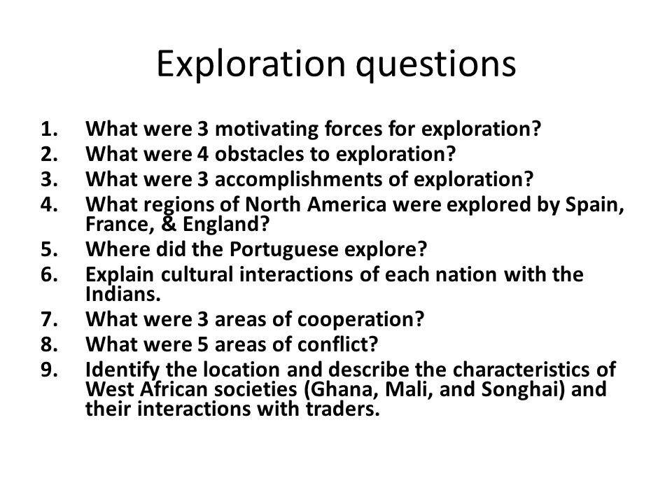 Exploration questions