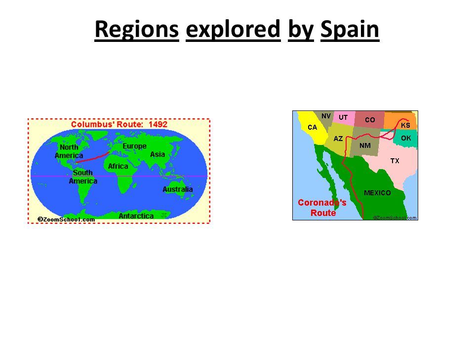 Regions explored by Spain