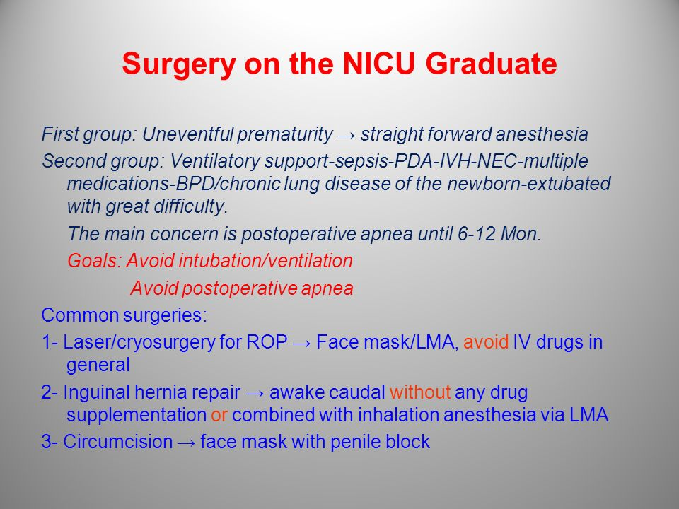 Surgery on the NICU Graduate