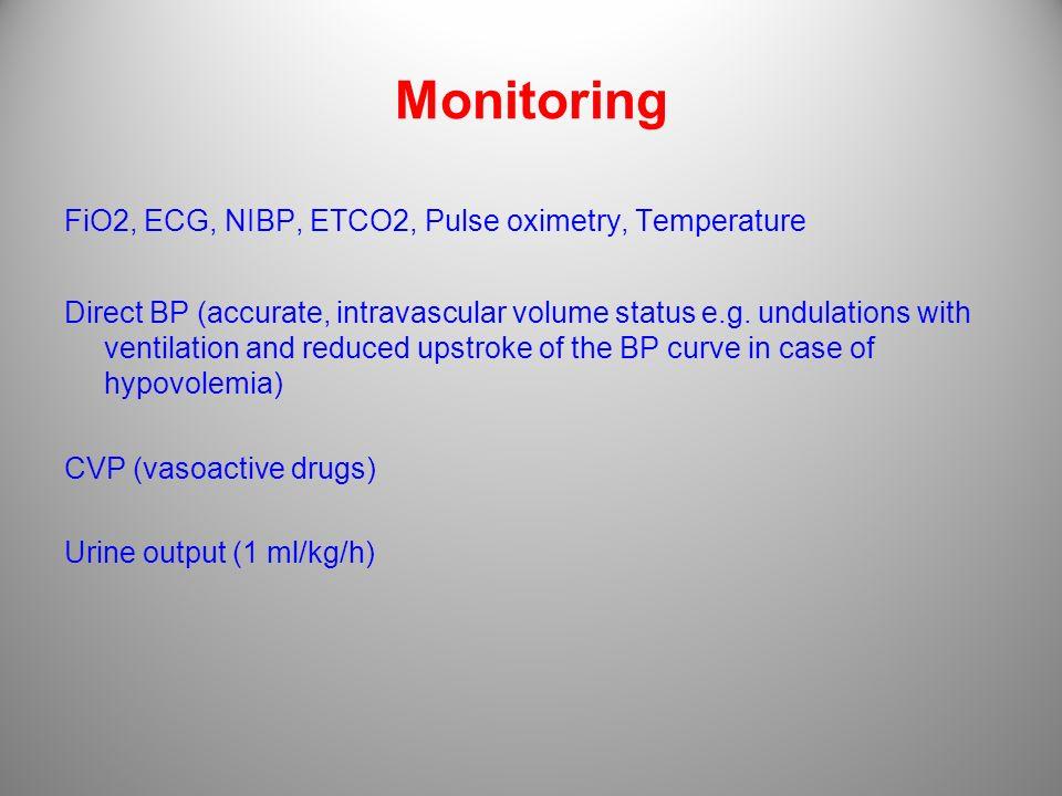 Monitoring FiO2, ECG, NIBP, ETCO2, Pulse oximetry, Temperature