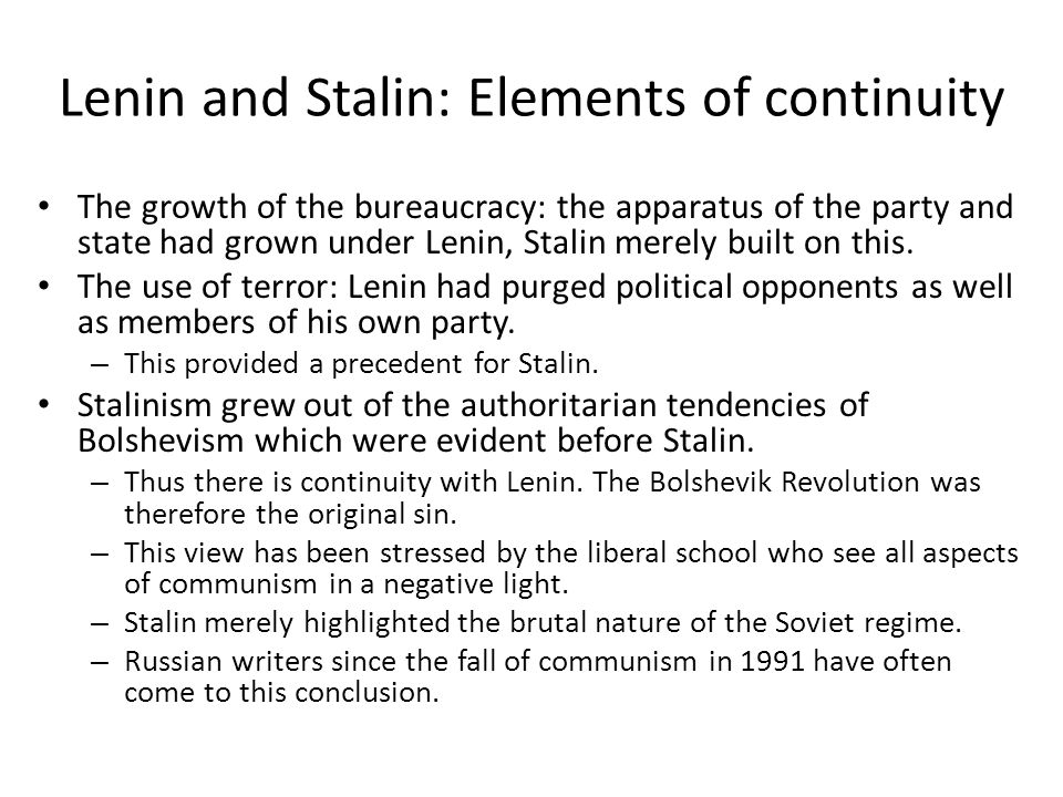 Lenin and Stalin: Elements of continuity