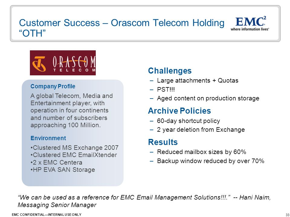 Customer Success – Orascom Telecom Holding OTH