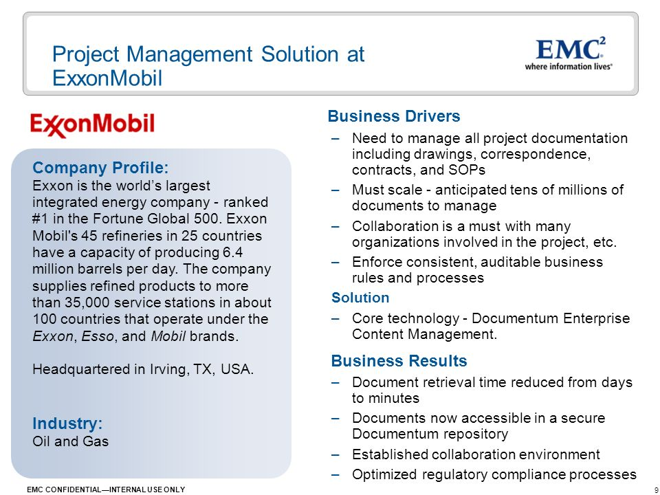 Project Management Solution at ExxonMobil