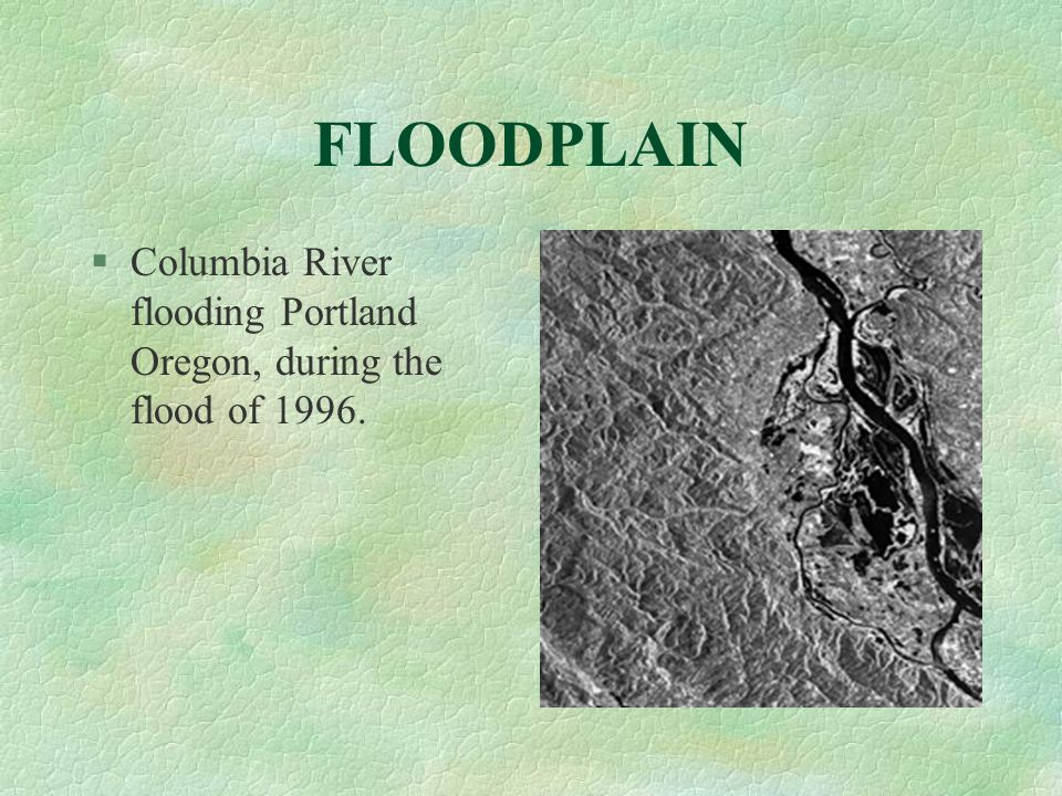 FLOODPLAIN Columbia River flooding Portland Oregon, during the flood of 1996.