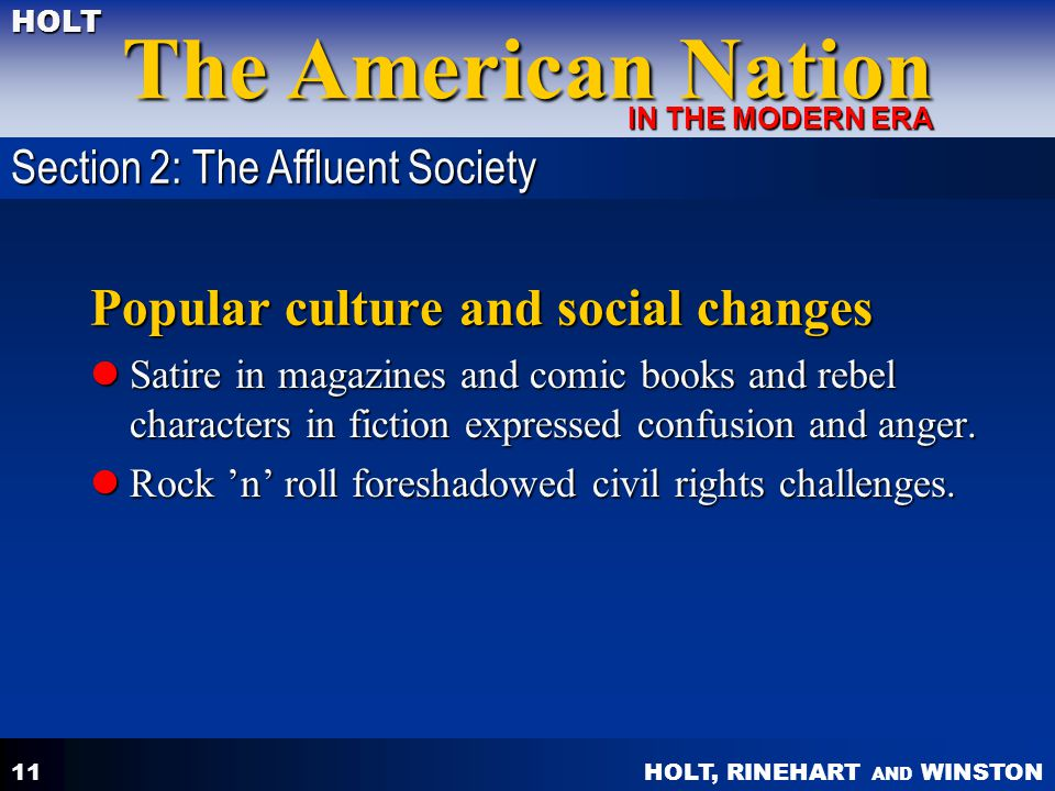 Popular culture and social changes