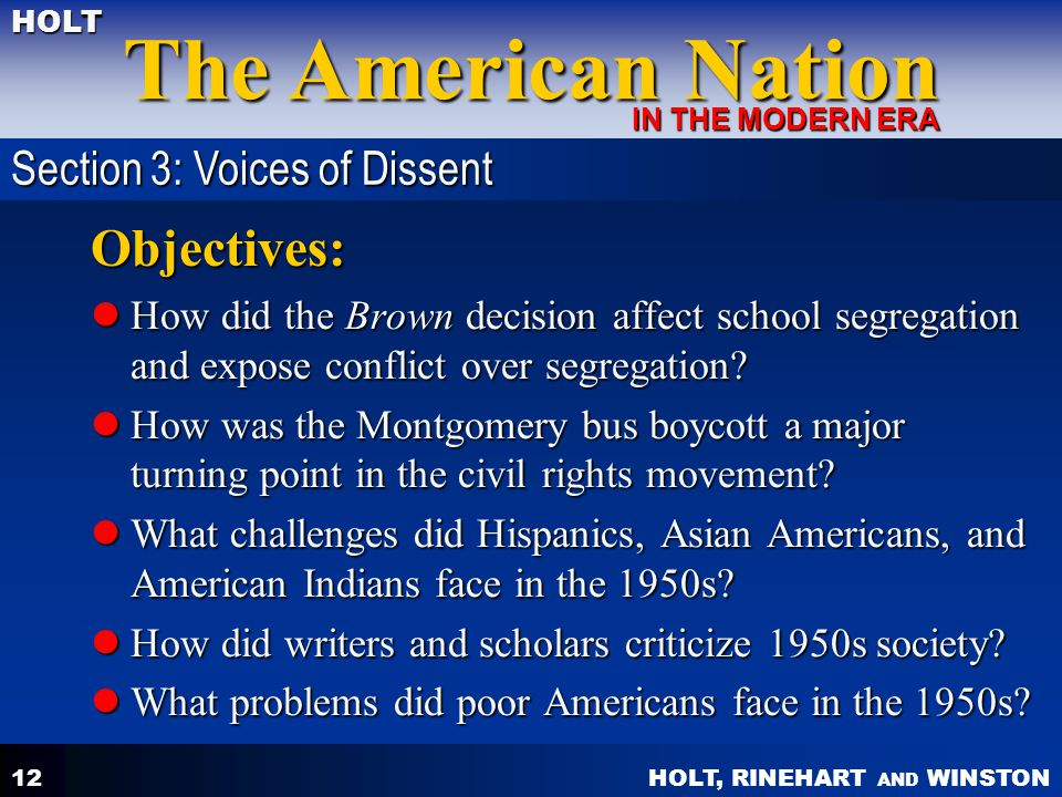 Objectives: Section 3: Voices of Dissent