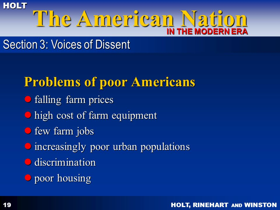 Problems of poor Americans