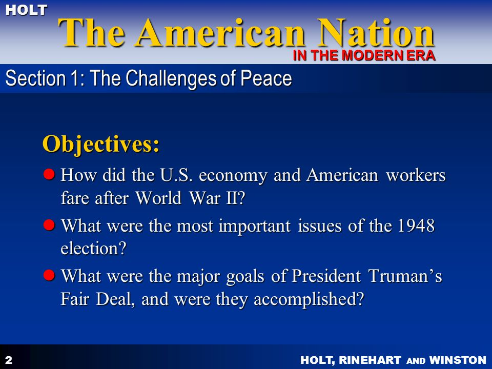 Objectives: Section 1: The Challenges of Peace