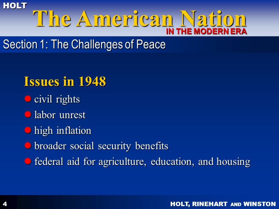 Issues in 1948 Section 1: The Challenges of Peace civil rights