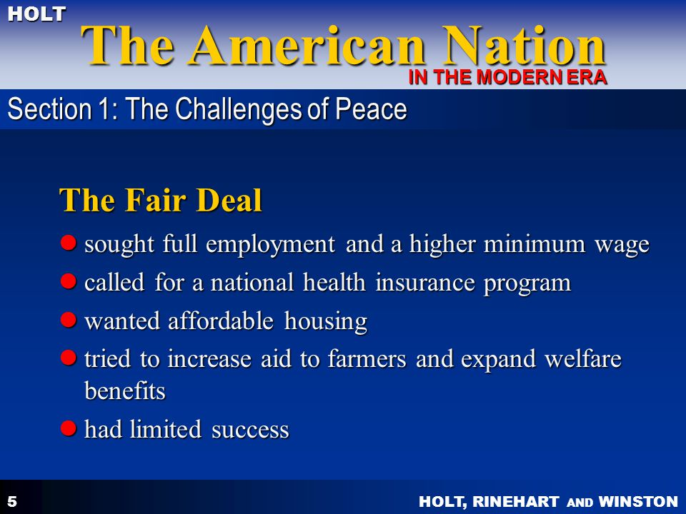 The Fair Deal Section 1: The Challenges of Peace