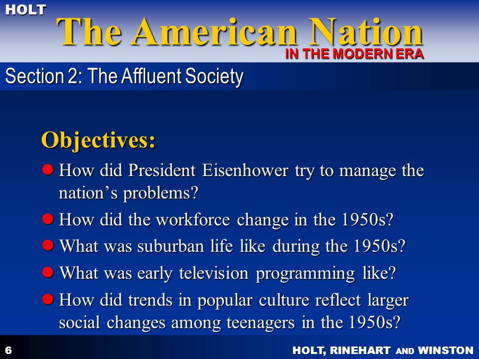 Objectives: Section 2: The Affluent Society