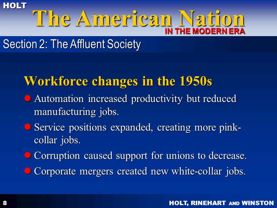 Workforce changes in the 1950s