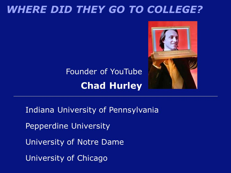Chad Hurley Founder of YouTube Indiana University of Pennsylvania