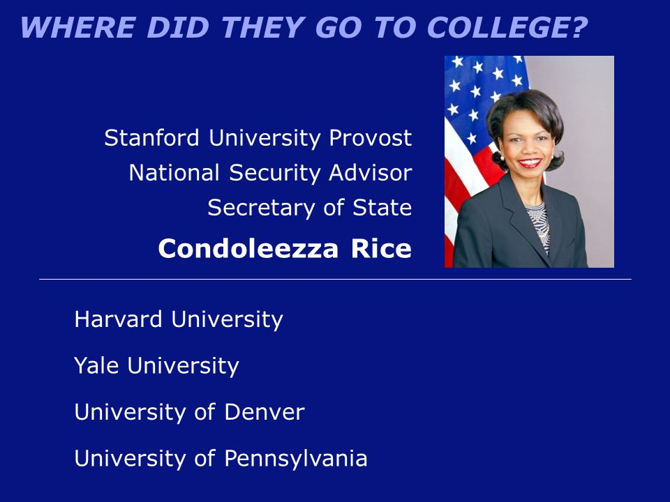 Condoleezza Rice Stanford University Provost National Security Advisor